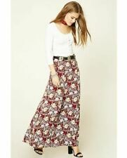 Forever 21 Floral Print Maxi Skirt Burgundy/blush UK Small W28 LN097 UU 15