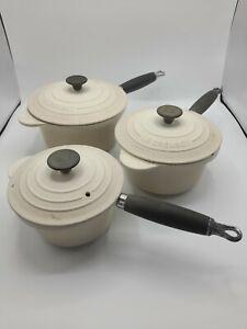 Le creuset Pan's Set Of 3 20 Cm,18cm,16cm With Lids Almond Cream