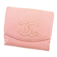 Chanel Wallet Purse Folding wallet COCO Pink Woman Authentic Used T309