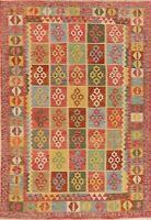 MEMORIAL SALE Geometric Vintage Style Turkish Kilim Area Rug FlatWeave Wool 7x10