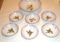 Vintage BERRY BOWL Set Bavarian China Birds