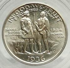 1936 DANIEL BOONE 200th Commemorative US Silver Half Dollar Coin PCGS MS i76470