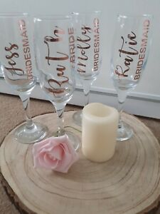 Personalised Wedding/Champagne Prosecco Flutes/Glass Bride/Bridesmaid Gift / Hen