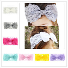 Kids Girls Toddler Baby Cute Lace Bow Elastic Headband Hair Band Accessories
