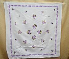 VINTAGE TABLECLOTH TEA CLOTH COTTON CREPE LILACS TT225