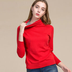 85% Silk 15% Cashmere Knitted Turtleneck Long Sleeves Top