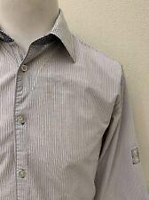 Scotch&Soda - Pale Grey Mix Striped Adjustable Sleeve Casual Shirt - Medium