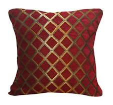 Wd33Ba Gold on Red Damask Chenille Check Throw Cushion Cover/Pillow Case *Size