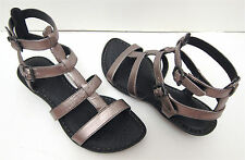 NIB! 6 36.5 Born Bragg Pewter Metallic Bronze Leather Gladiator Sandals Low Heel