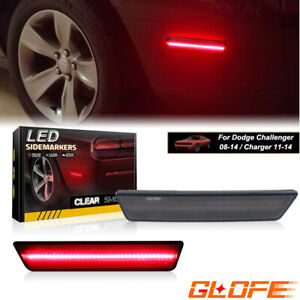 For 2011-2014 DODGE CHARGER SMOKED LENS RED LED LIGHTS REAR SIDE MARKER LAMPS