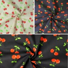 Polycotton Fabric Cherries Red Cherry Summer Feel Dress Fruit