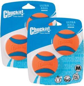 Chuckit Ball Ultra Ball Medium Dog Fetch Toy, 4-Pack (2 x 2-Pack)