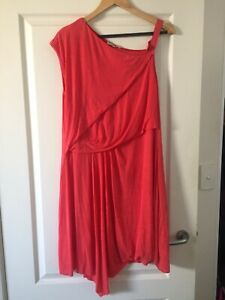 Asymmetric Coral Lined Jag Dress Size 14