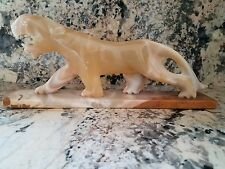Marbled Onyx Stone Lion or Panther Statue - 15 7/8 inches Long