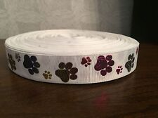 1m White With Glitter Dog Paw Print Collar Lead Printed Grosgrain Ribbon, 22mm