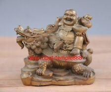 7 CM China Brass Laughter Wealth Maitreya Sack Monk Buddha Dragon Turtle Statue