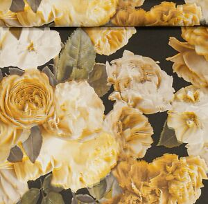 Yellow Gold Black White Realistic Flower Floral Slight Imperfect Vinyl Wallpaper