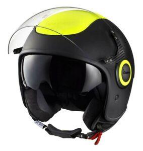 Vespa scooter demi Jet VJ black yellow fluo fluorescent M visor open face helmet