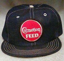 VTG Carnation Feed Farm Jean Denim Patch Snapback Hat Blue USA Made Foam Lined