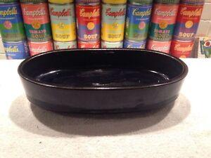 Heavy vintage modern oval black ceramic Ikebana Bonsai planter Made in Japan