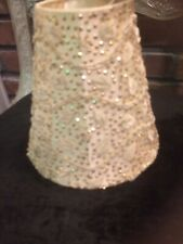"Small Clip On Lamp Shade Beaded Beige Tan Fabric 5""x3""x6"""