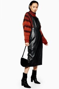 Topshop Leather Pinafore Dress