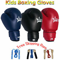 RAA Kids Boxing Training Gloves MMA Kick Boxing Punching Free Skipping Rope
