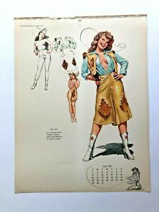 """mac PHERSON - JUL 1951 PIN-UP/CHEESECAKE """" old west """" GROWN-UPS sketchbook page"""