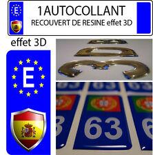 1 STICKER Autocollant ESPAGNE Foot plaque immatriculation auto 3D EN RESINE