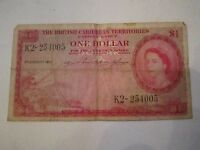 1955 BRITISH CARIBBEAN TERRITORIES ONE DOLLAR CURRENCY NOTE - NICE -
