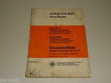 Ersatzteilliste Ersatzteilkatalog Kreidler Moped Mofa MF 4 MP 1, für Bj. 1970/72