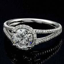 Halo Split Shank 1.26 Carat VS2/H Round Diamond Engagement Ring 14K White Gold