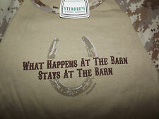 "Nwt STIRRUPS TEEN Size Medium L/S TEE ""What Happens stays at the Barn """