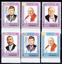 YEMEN KINGDOM 1968 KENNEDY, KING, CHURCHILL, POPE PAUL, POPE JOHN SET CAT 12 EUR