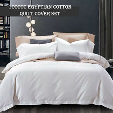 KING 1000TC Egyptian Cotton White Quilt Duvet Doona Cover Pillowcase Set WHITE