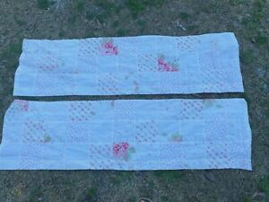 "2 Simply Shabby Chic Pink Calico Floral Patchwork Window Valance 54"" x 15"""