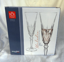 RCR Italian Crystal - Boxed Set of Six Melodia Design White Wine Goblets - BNIB