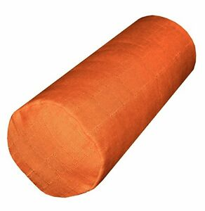 Qh06g Mandarin Orange Thick Cotton Blend Bolster Yoga Case Neck Roll Custom Size