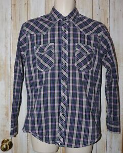 Womens Purple Gray Plaid Wrangle 20X Western Snap Up Shirt Size Medium excellent