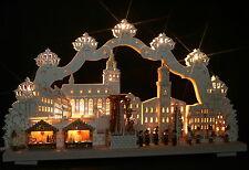 3D-Schwibbogen 68x39cm Weihnachtsmarkt Schneeberg + elekt. Pyramide Erzgebirge