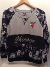 NBA U Chicago Bulls Black Gray White Floral Print Sweatshirt Basketball Ladies