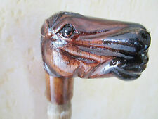 poignée de canne/parapluie -animal en bois sculpté main polychrome -cheval 1