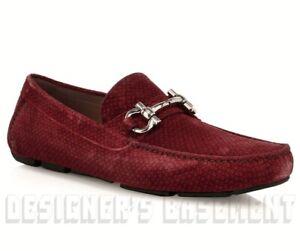 SALVATORE FERRAGAMO red Gancini Suede 10E PARIGI BIT Moccasin shoes NIB Authentc