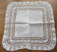 Antique Vintage French LACE Bridal Wedding Handkerchief Hankie Off white