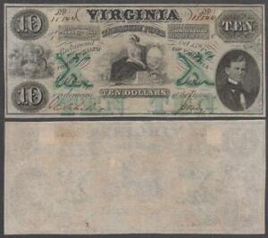 Virginia - Treasury Note, 10 Dollars, 1862, XF+ (paper mounts on back), P-S3683