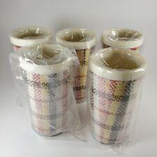 Vintage set 5 plaid / tweed plastic Drinking Cup Tumblers Hong Kong
