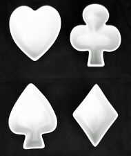 BIA Set of 4 White Stoneware Card Suit Snack Dishes Heart Spade Club Diamond NEW