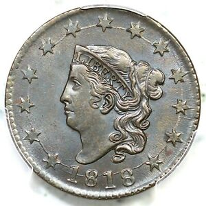 1818 N-10 PCGS MS 62 BN Matron or Coronet Head Large Cent Coin 1c