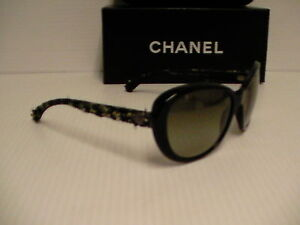 Authentic Chanel new sunglasses woman's 5241 c.1404/3M 56/17 cat eye green lens