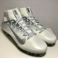 Nike Mens Size 13 Untouchable 2 White Out Platinum Football Cleats Rare $200